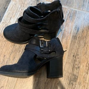 Black chunky heeled booties with buckles